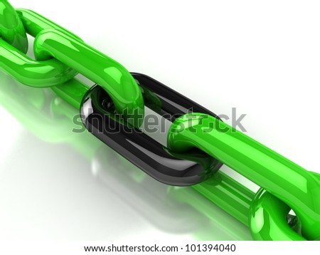 3d steel chain. Concept of teamwork. Connection - stock photo