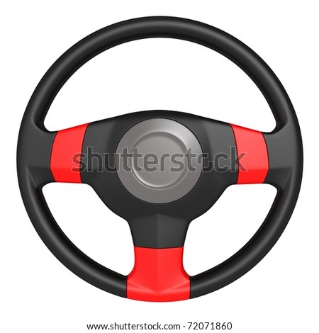 3d steering wheel isolated on white background - stock photo