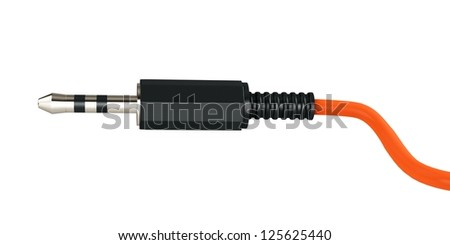 3d stereo audio jack on white background - stock photo