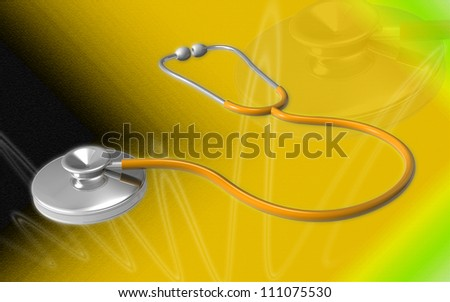3d Stethoscope on a color background - stock photo