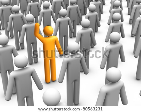 3d stick figure standing out from Crowd
