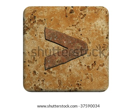 3d stone symbol on a white isolated background.