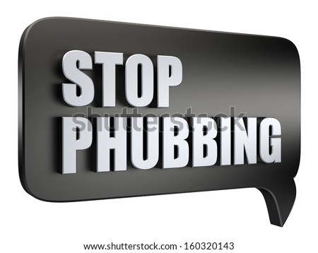 3D stop phubbing text on white background