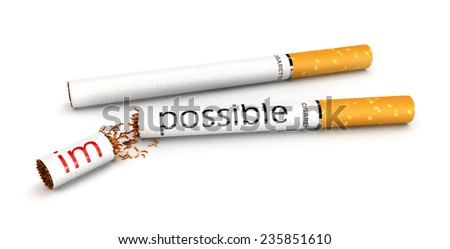 3d stop smoking concept, impossible to possible, isolated white background, 3d image - stock photo