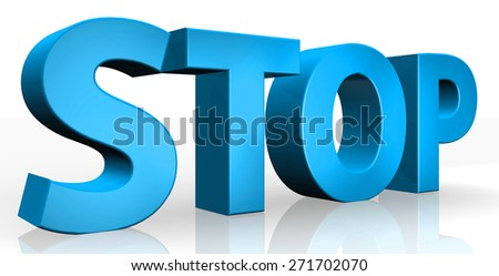 3D stop text on white background - stock photo
