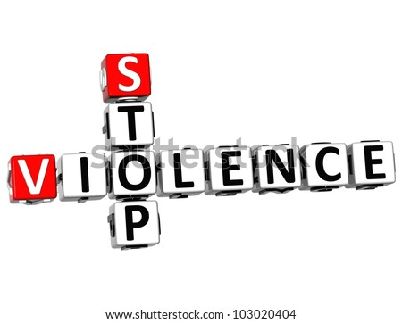 3D Stop Violence Crossword on white background