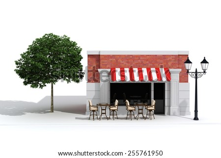 3d store shop front with big windows on white - stock photo