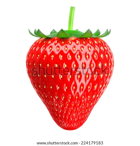 3d Strawberry in the background.