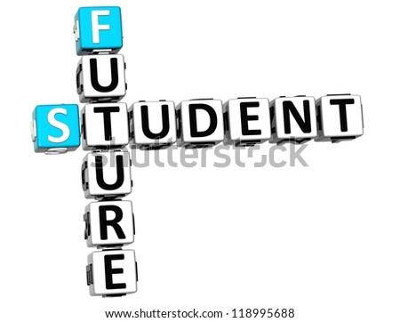 3D Student Future Crossword on white background - stock photo