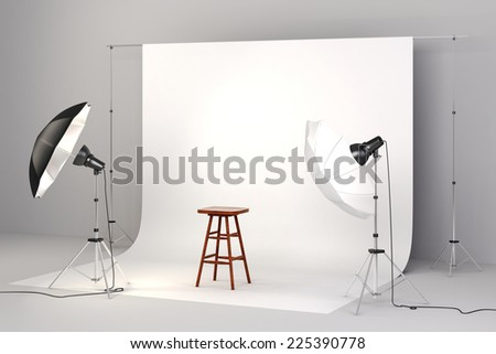 3d studio setup with lights, a wooden chair and white background - stock photo