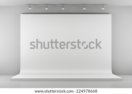 3d studio setup with lights and white background - stock photo
