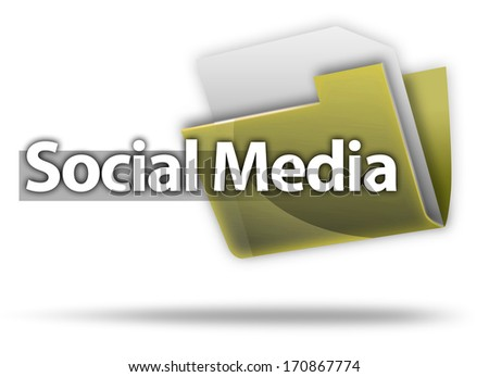 3D Style Folder Icon with Social Media wording