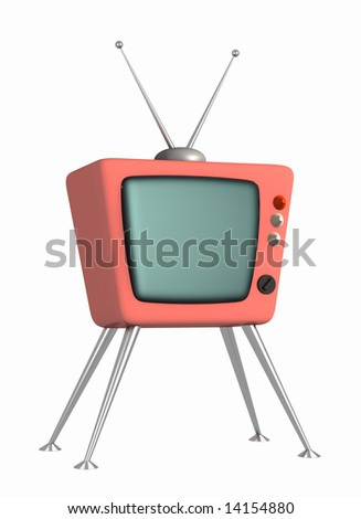 3d stylized model of a retro of the television. Object over white