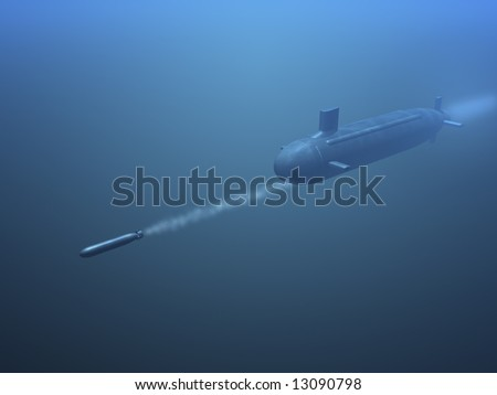 3D submarine shooting missile side view
