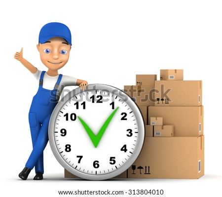 3d successful courier on a white background - stock photo