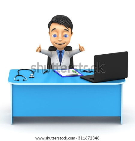 3d successful doctor at the table - stock photo