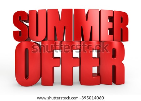 3D summer offer word on white isolated background