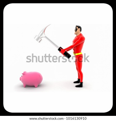 3d superhero break piggy bank using hammer concept on white background, side angle view