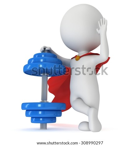 3d superhero with red cloak presenting blue dumbbell. 3d render isolated on white background. Wave hand hello. Sport and relaxation concept