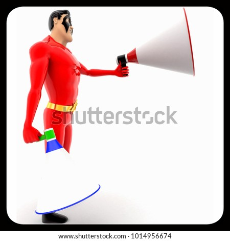 3d superhero with two blue and red loud speaker concept on white background, side angle view