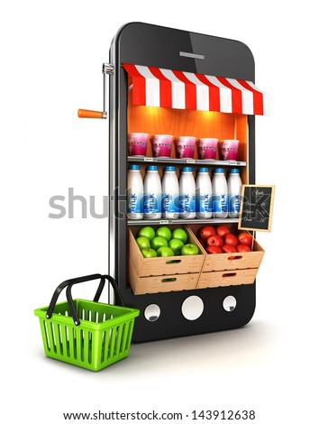 3d supermarket smartphone, isolated white background, 3d image - stock photo