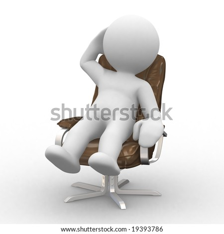 3d supervisor manager in chair - stock photo