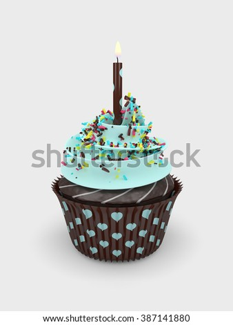 3d sweet cupcake with candle over light grey background - stock photo