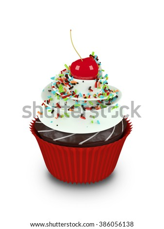 3d sweet cupcake with sprinkles isolated on white background - stock photo