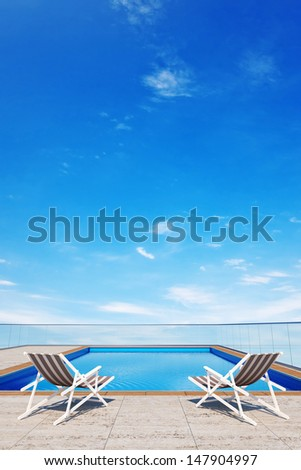 3d swimming pool with 2 beach chairs