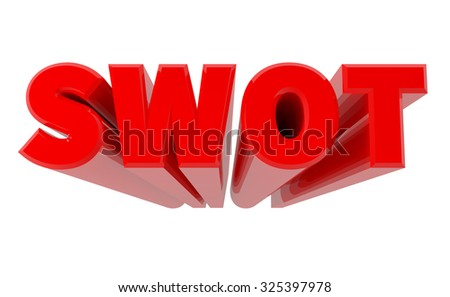 3D SWOT word on white background 3d rendering