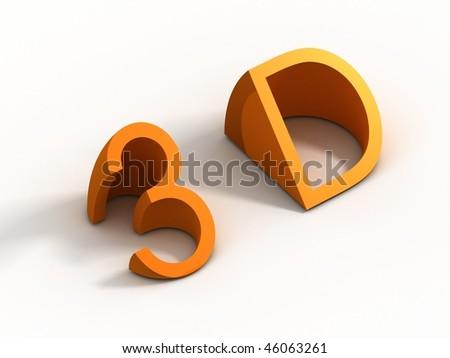3d symbol - stock photo