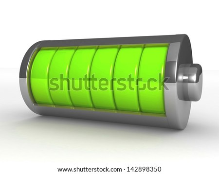 3D symbol Battery isolated on white background - stock photo