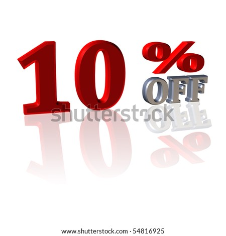 3D Symbol from discount percentage with reflection