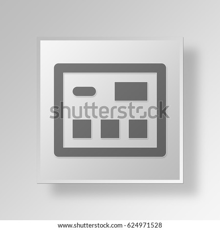 3D Symbol Gray Square Credit Card icon Business Concept