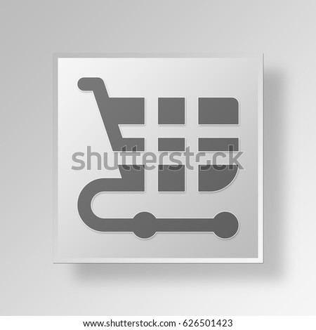 3D Symbol Gray Square Shopping Cart icon Business Concept