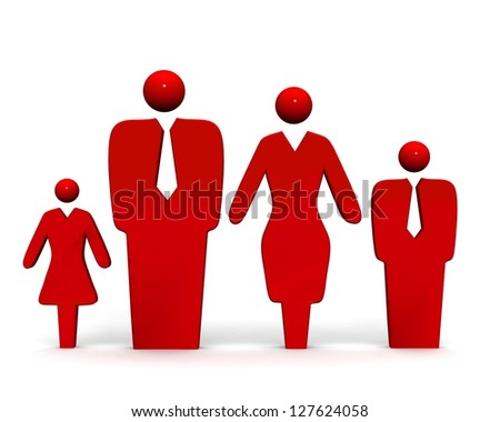 3d symbol of family. - stock photo