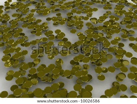 3d symbolic gold coins covering a white surface in several layers - stock photo