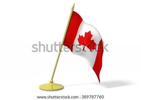 3D table flag of Canada. - stock photo