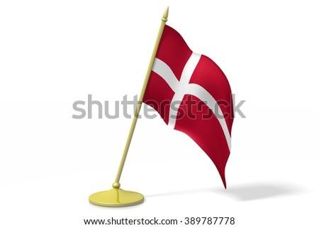 3D table flag of Denmark. - stock photo