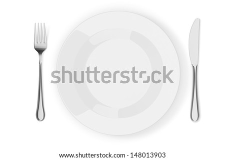 3d table setting with white empty plate, fork and  knife