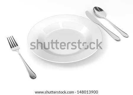 3d table setting with white empty plate, fork knife and spoon