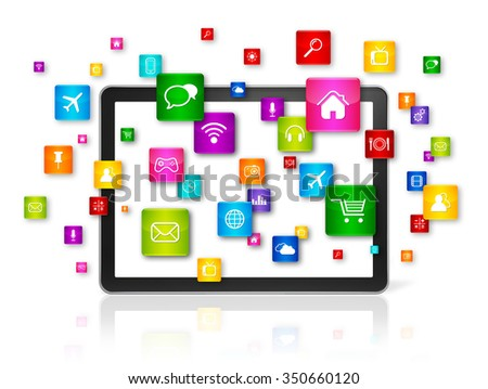 3D Tablet PC with flying apps icons - isolated on white - front view