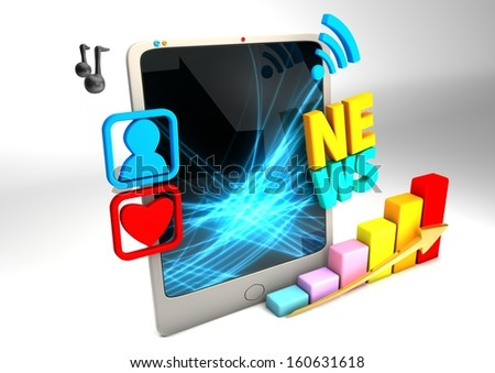 3D tablet with multimedia elements - stock photo