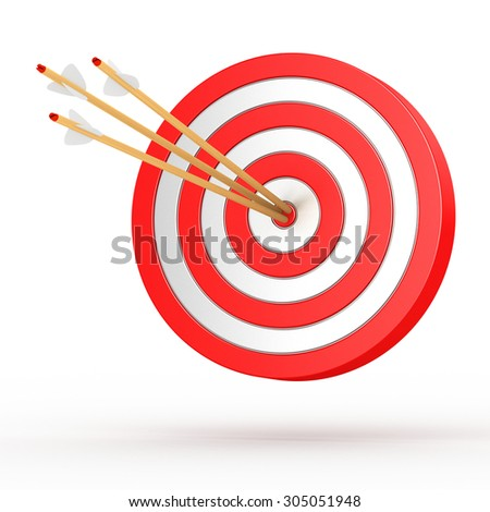 3d target with arrows on white background - stock photo