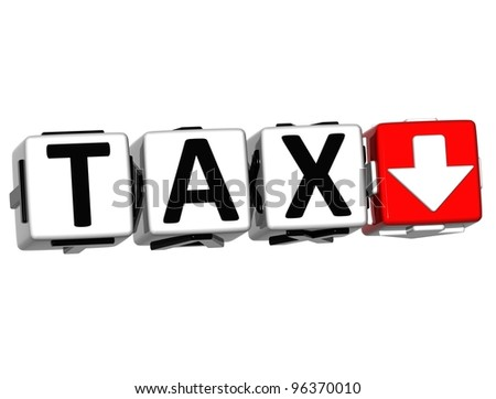 3D Tax button block cube text over white background - stock photo