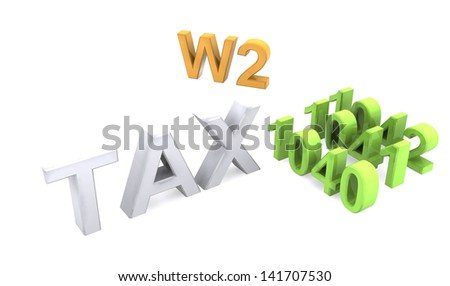 3D Tax text icon - stock photo