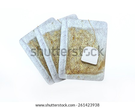 3d tea bags white isolated - stock photo