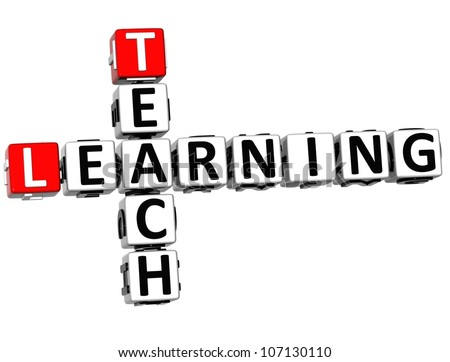 3D Teach Learning Crossword on white background - stock photo