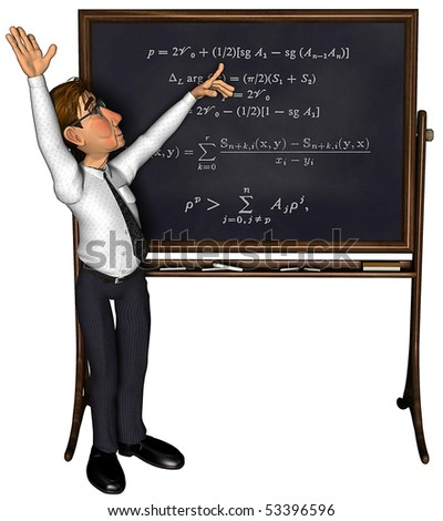3d teacher teaching 1 cartoon - stock photo