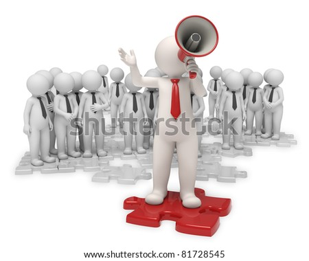 3d team standing on gray puzzle pieces while their leader making an announcement with a red megaphone - Isolated - stock photo